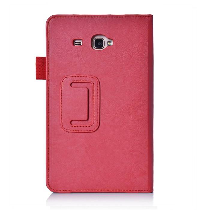galaxy tab j case with hand loop stand and pockets Red: