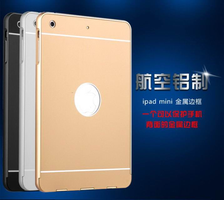 Case with metal frame for Apple iPad Mini 1, iPad Mini 2, iPad Mini 3