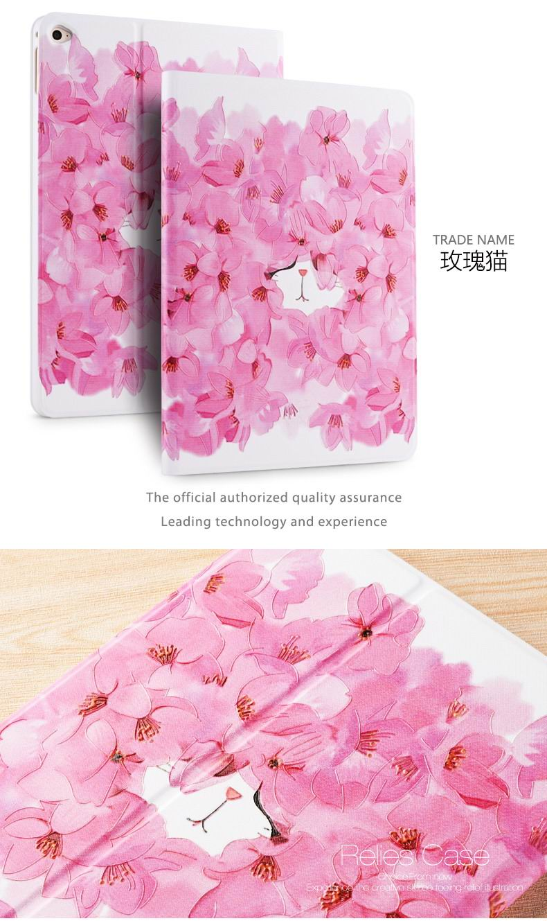 Case with picture of flowers, cats, pig, girls and other for Apple iPad Air 1, iPad Air 2