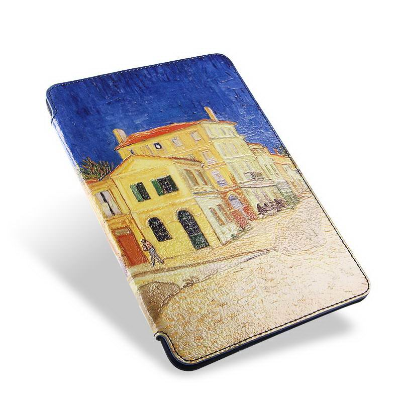 case with van gogh oil painting such as the yellow house starry night and other for apple ipad 0