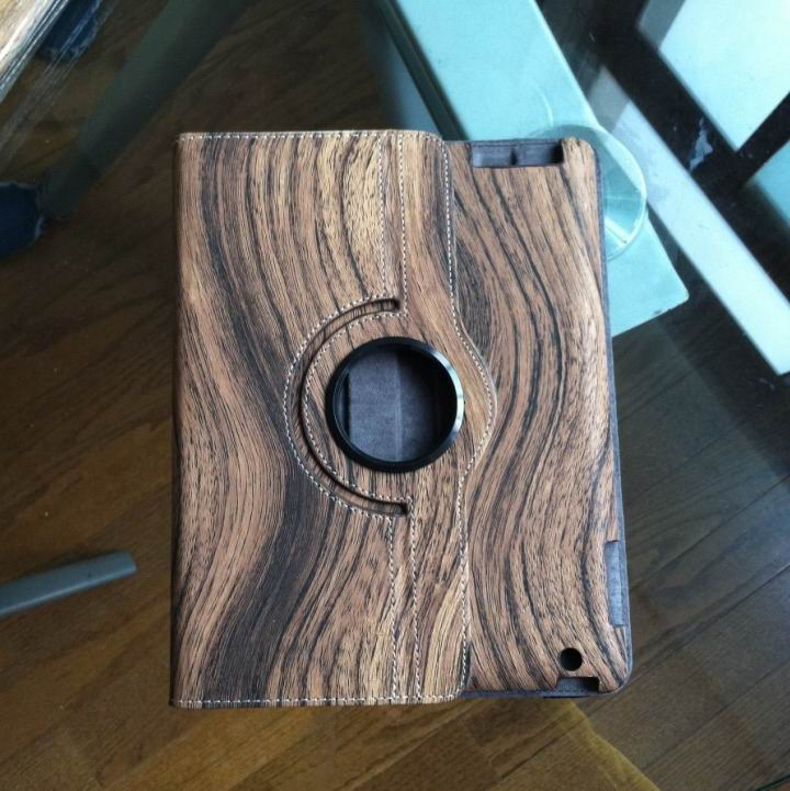 ipad 4 case with wood style and 360 stand Dark brown wood grain: