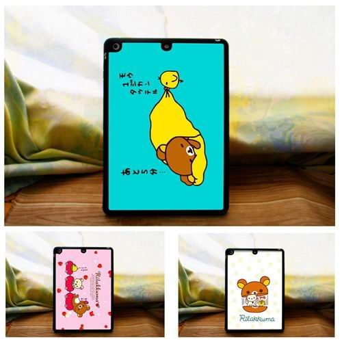 Cover with cute bears & black Silicone border for Apple iPad Air 1, iPad Air 2