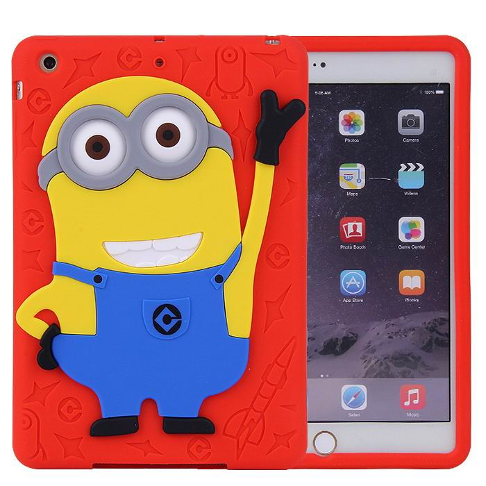 silicone cover with cartoon picture of minion for apple ipad 00