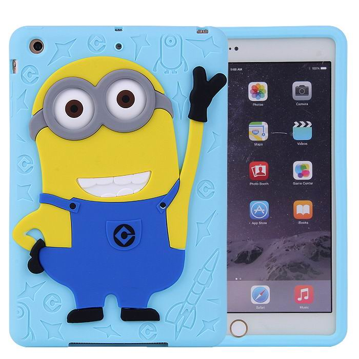 Silicone cover with cartoon picture of Minion for Apple iPad Mini 1, iPad Mini 2, iPad Mini 3, Apple iPad 2, iPad 3, iPad 4, Apple iPad Air 1, iPad Air 2