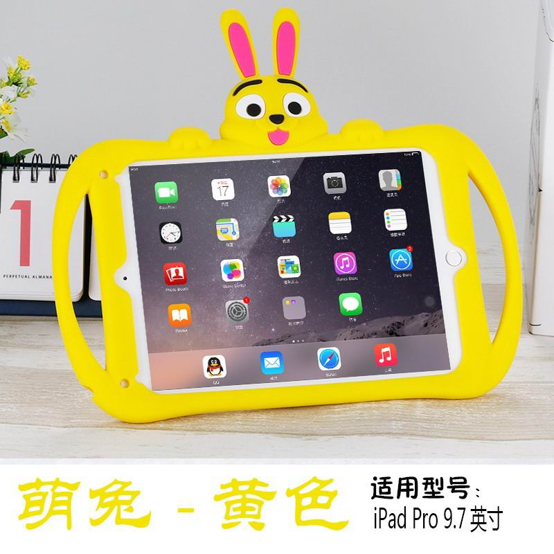 Silicone cover with cartoon rabbit for children for iPad Air 2, iPad Pro 9.7 inch