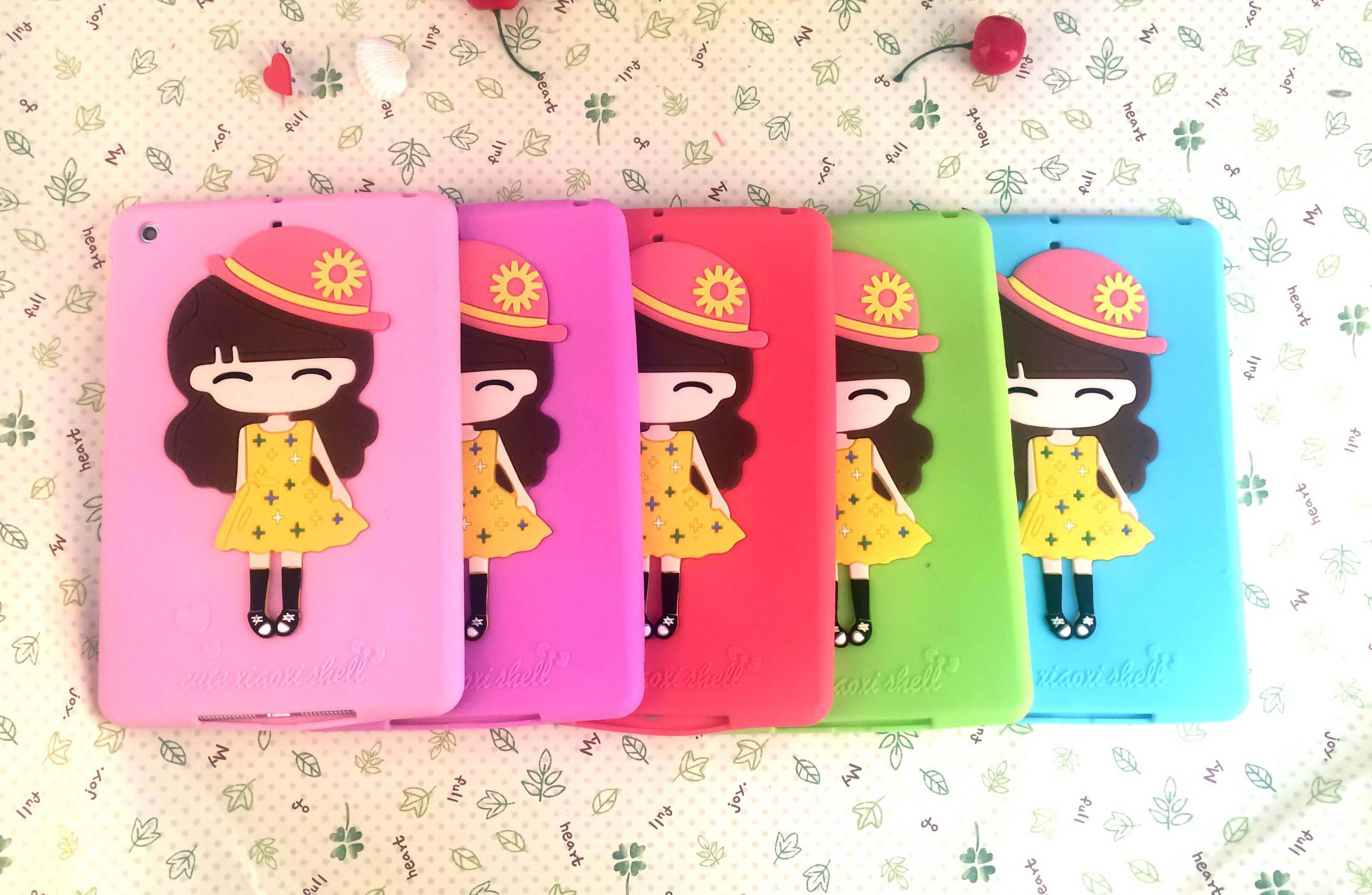 Silicone cover with picture of cute girl for Apple iPad 2, iPad 3, iPad 4, Apple iPad Mini 1, iPad Mini 2, iPad Mini 3