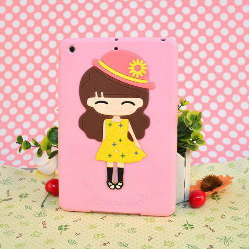 silicone cover with picture of cute girl for apple ipad 00