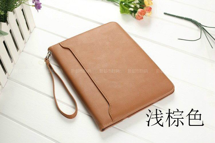 galaxy tab a 10 1 2016 business leather case with wrist loop light brown: