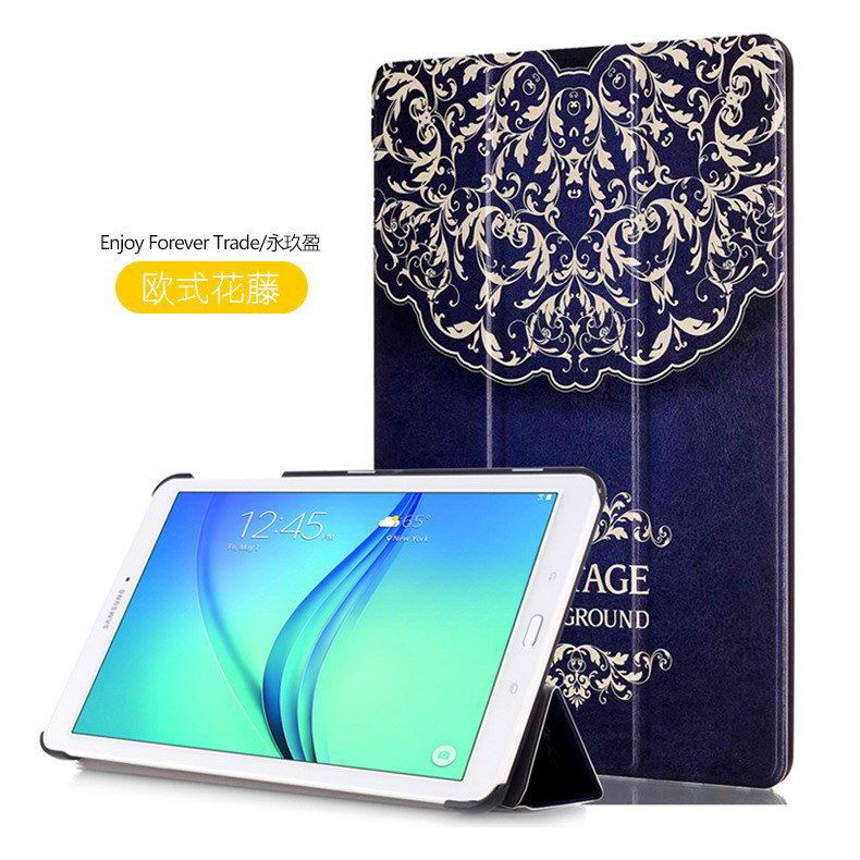 galaxy tab e 8 0 case with bright pattern pictures of eiffel tower tree hearts and other European style flower vine: