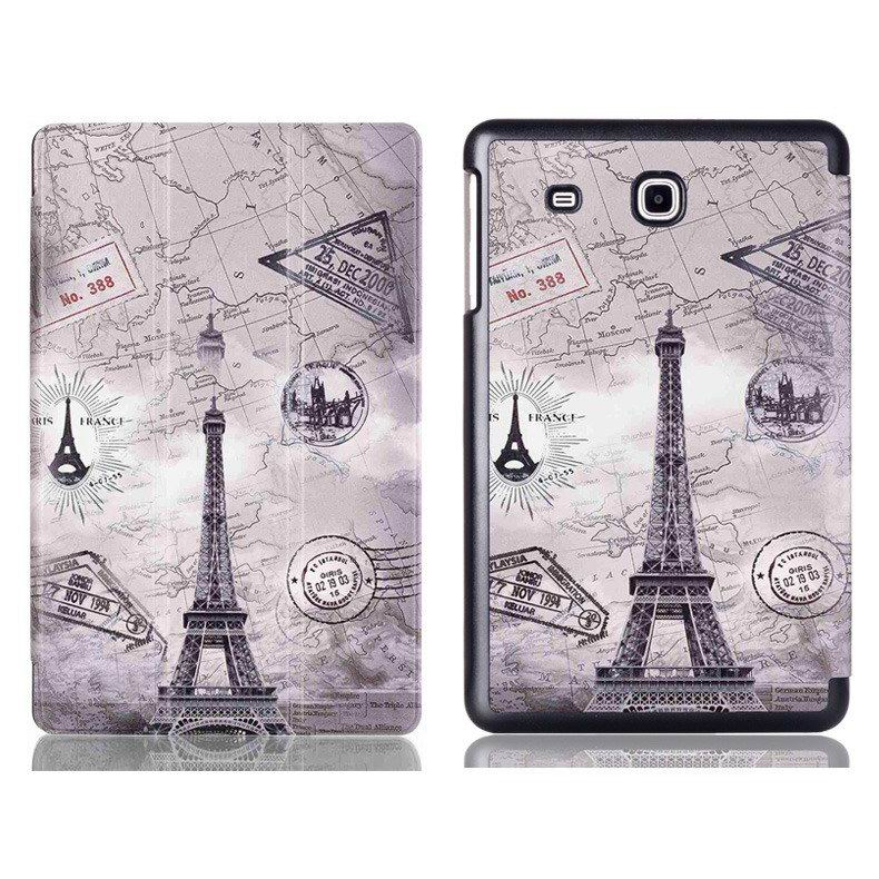 galaxy tab e 8 0 case with bright pattern pictures of eiffel tower tree hearts and other
