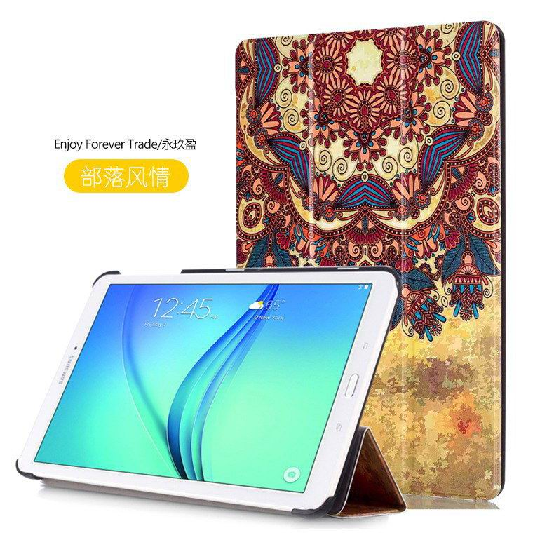 galaxy tab e 8 0 case with bright pattern pictures of eiffel tower tree hearts and other Tribal style: