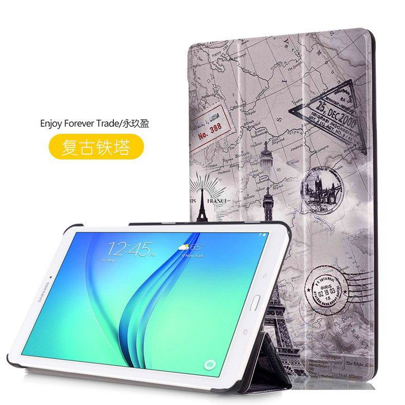 galaxy tab e 8 0 case with bright pattern pictures of eiffel tower tree hearts and other Vintage Eiffel Tower: