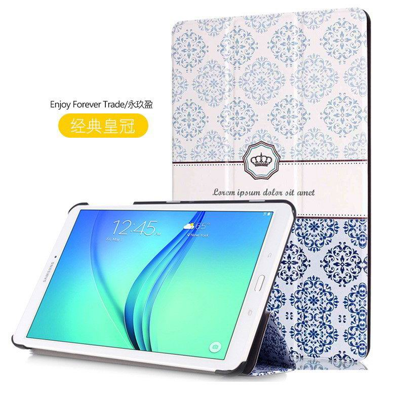 galaxy tab e 8 0 case with bright pattern pictures of eiffel tower tree hearts and other The classic crown: