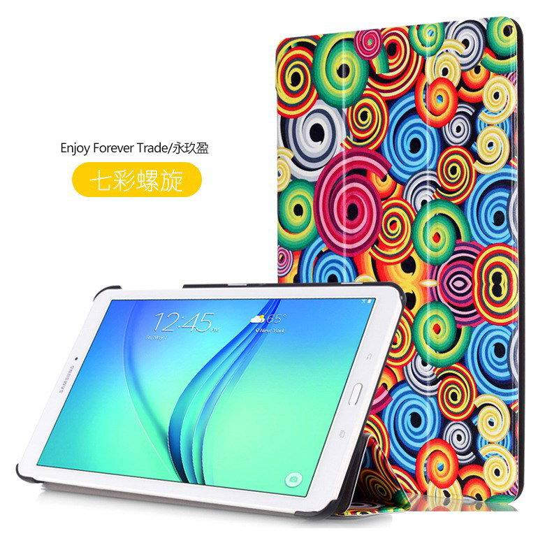 galaxy tab e 8 0 case with bright pattern pictures of eiffel tower tree hearts and other Colorful spiral: