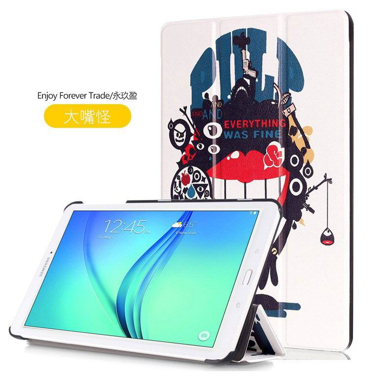 galaxy tab e 8 0 case with bright pattern pictures of eiffel tower tree hearts and other Big mouth to blame: