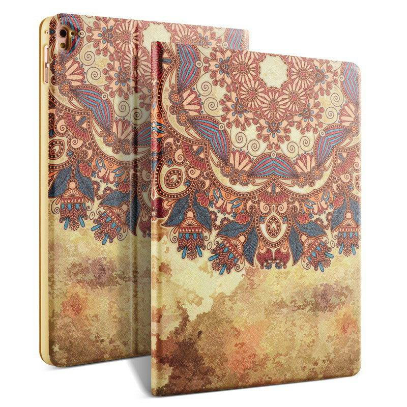 ipad pro 9 inch case with bright pictures of dog monkey flowers eiffel tower and other Tribal: