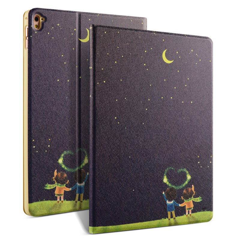 ipad pro 9 inch case with bright pictures of dog monkey flowers eiffel tower and other Moonlight couple: