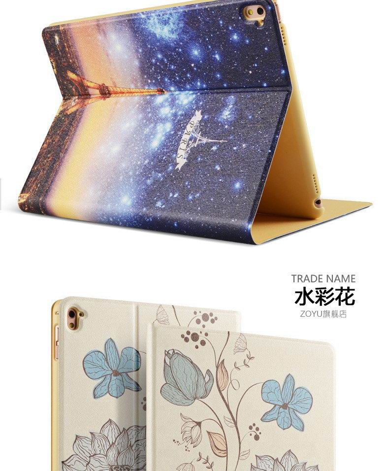 ipad pro 9 inch case with bright pictures of dog monkey flowers eiffel tower and other