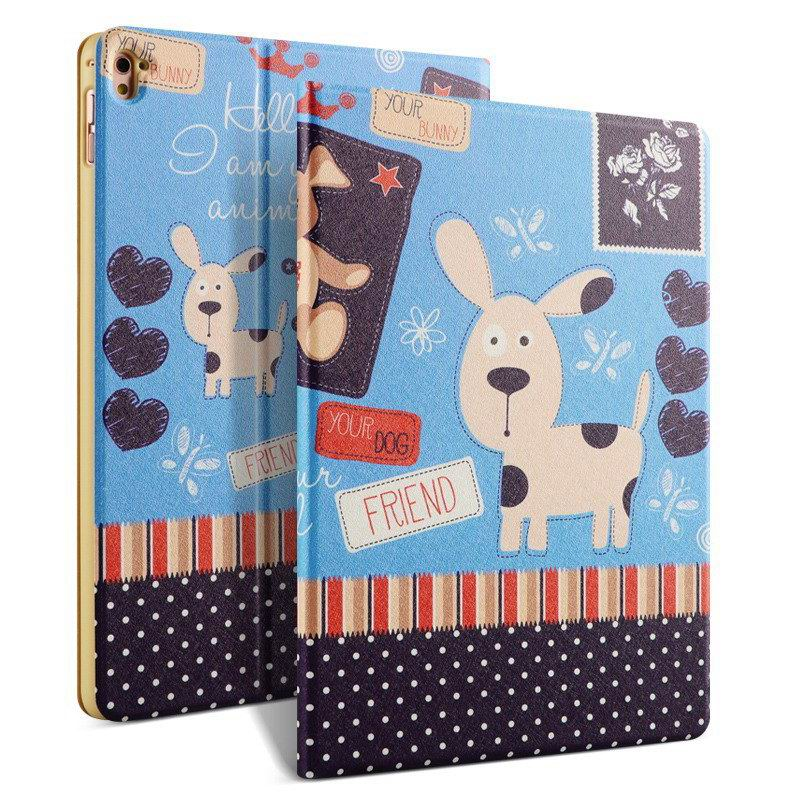 ipad pro 9 inch case with bright pictures of dog monkey flowers eiffel tower and other Snot Dog: