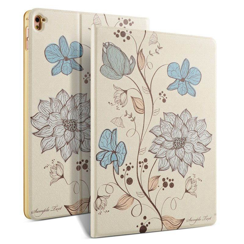ipad pro 9 inch case with bright pictures of dog monkey flowers eiffel tower and other Watercolor flowers: