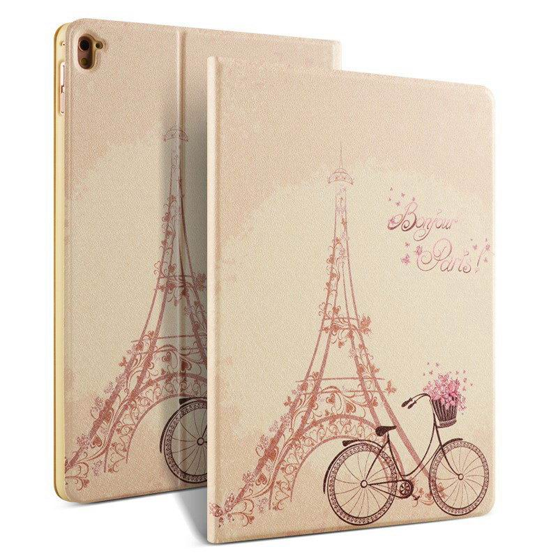 ipad pro 9 inch case with bright pictures of dog monkey flowers eiffel tower and other Bonjour Paris:
