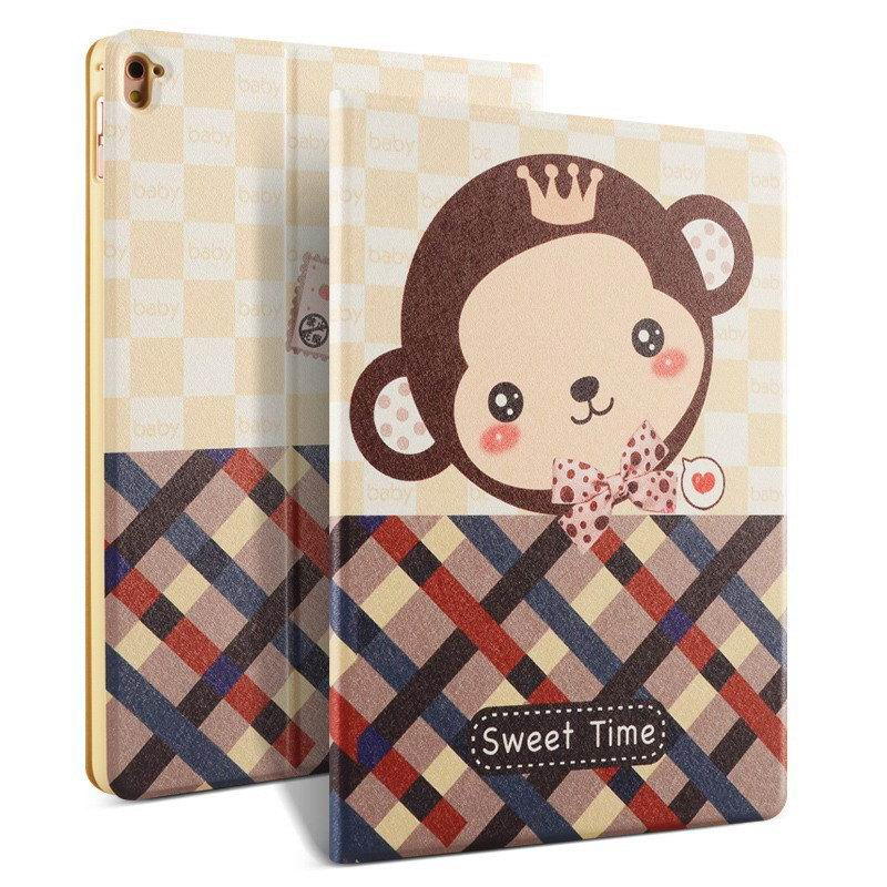 ipad pro 9 inch case with bright pictures of dog monkey flowers eiffel tower and other Shy monkey: