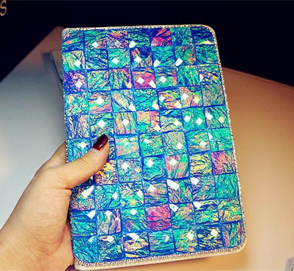 ipad pro 9 inch glitter case with rhinestones peacock blue: