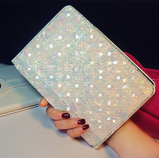 ipad pro 9 inch glitter case with rhinestones Transparent White: