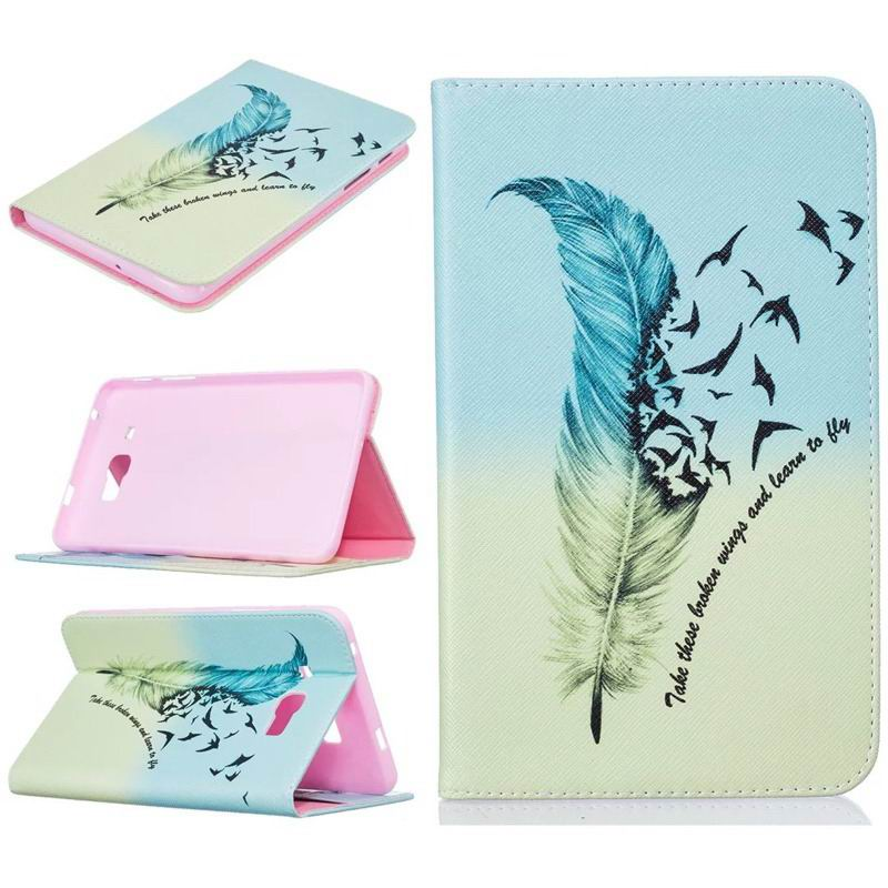 galaxy tab j bright case with a picture of butterflies flowers animals and other Pink feather: