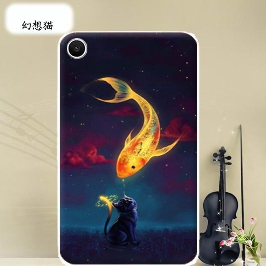 mediapad t1 70 plus bright case with a picture of flowers hearts animals and cartoon heroes Fantasy cat: