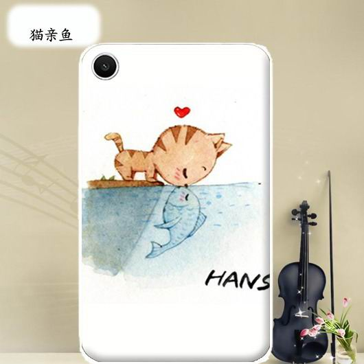 mediapad t1 70 plus bright case with a picture of flowers hearts animals and cartoon heroes Cat kiss fish: