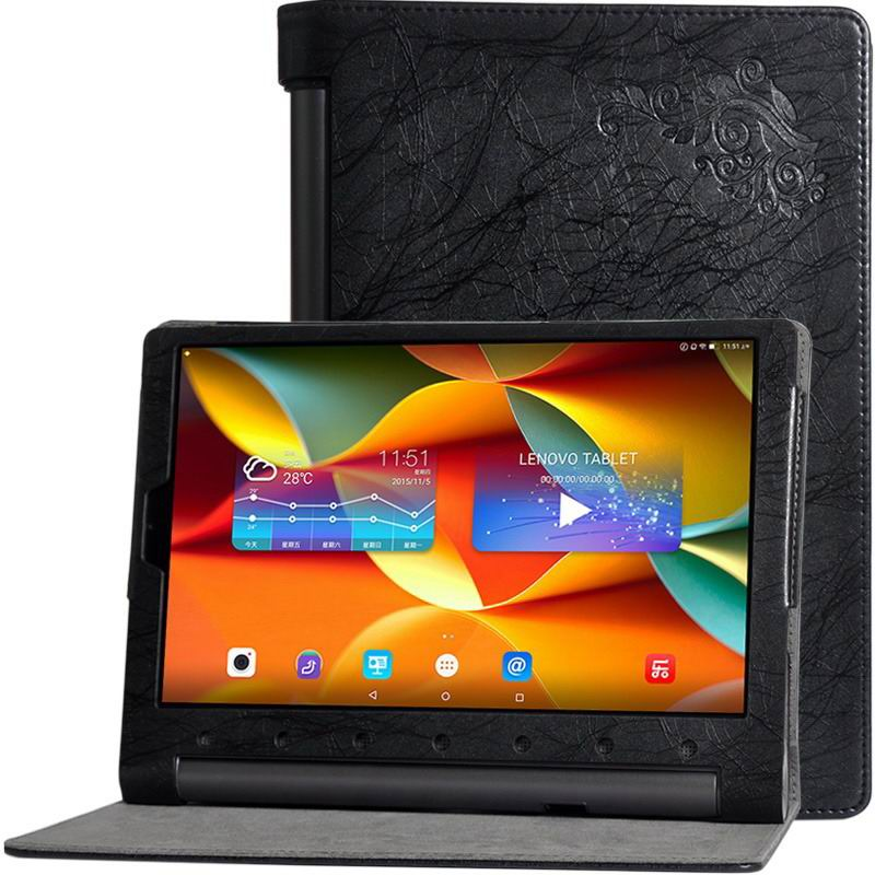 yoga tab 3 plus business case with multicolor pattern black: