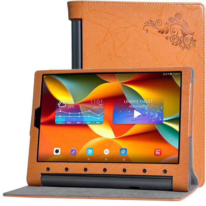 yoga tab 3 plus business case with multicolor pattern orange:
