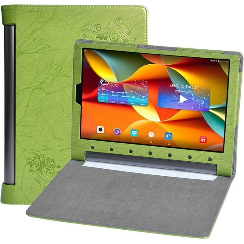 yoga tab 3 plus business case with multicolor pattern green: