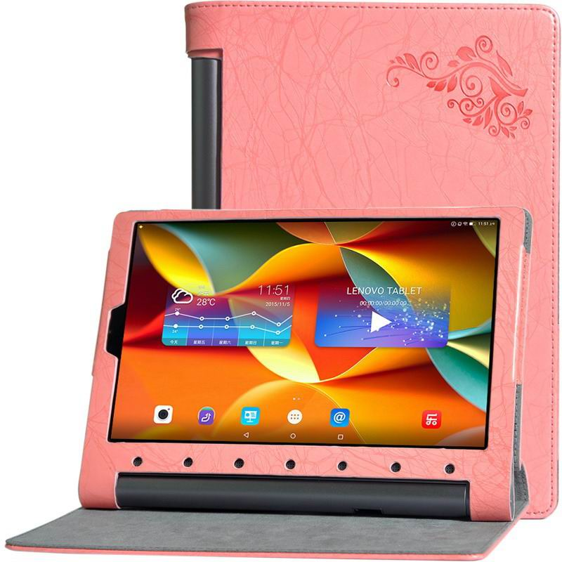 yoga tab 3 plus business case with multicolor pattern pink: