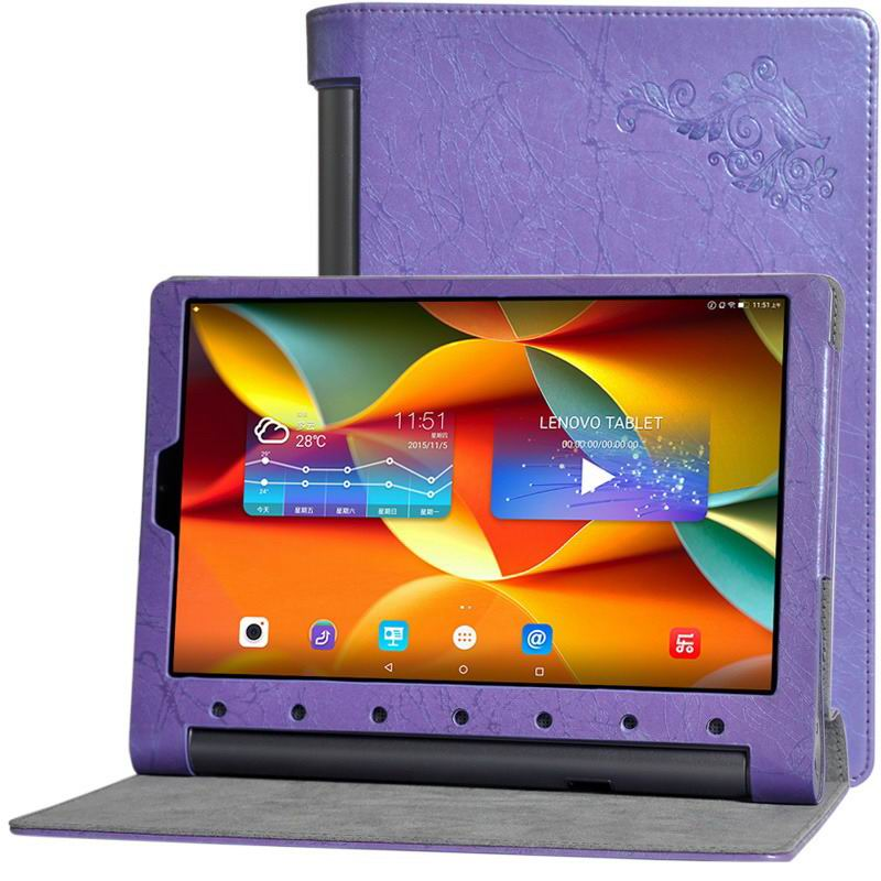 yoga tab 3 plus business case with multicolor pattern purple: