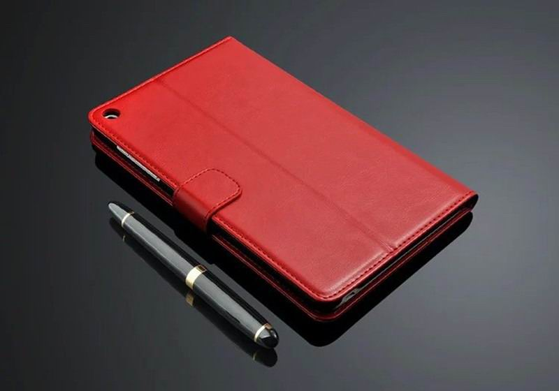 mediapad t1 70 plus business wallet case with leather pattern red: