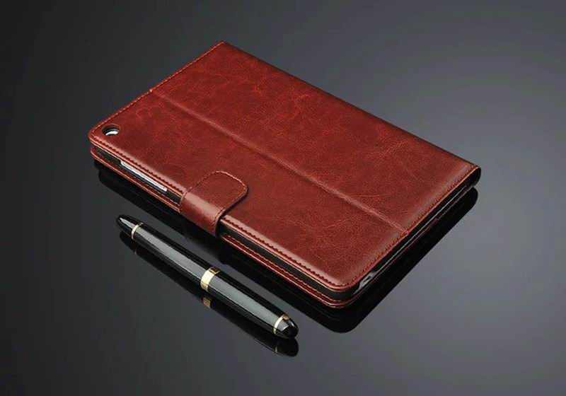 mediapad t1 70 plus business wallet case with leather pattern brown: