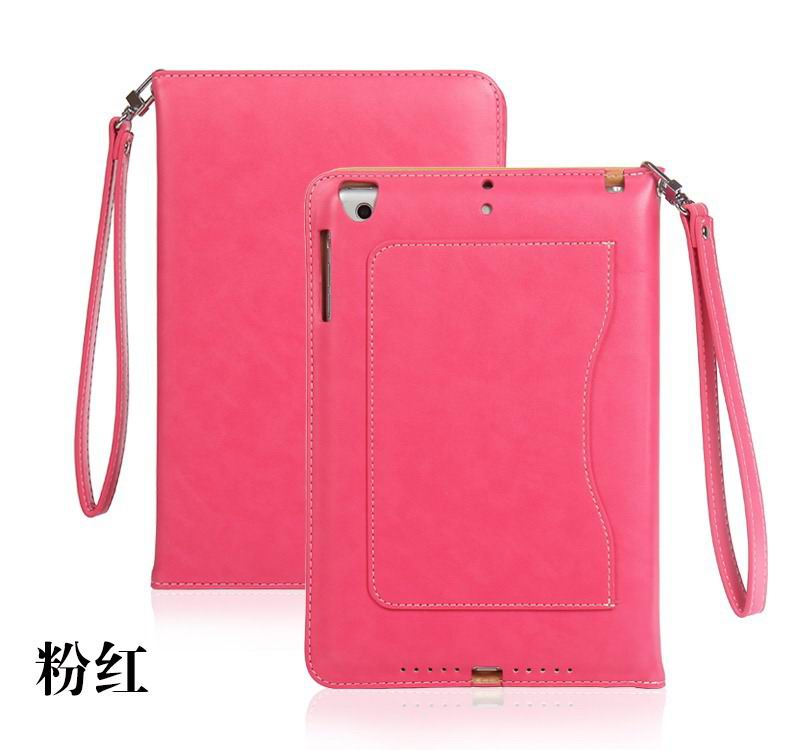 ipad pro 9 inch business wallet case with wrist loop pink: