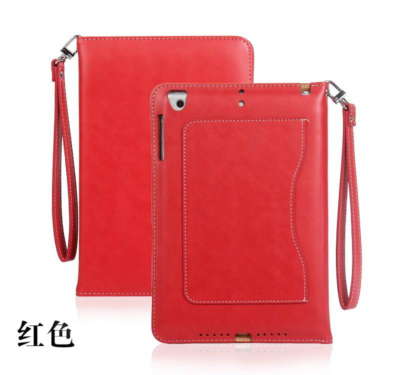 ipad pro 9 inch business wallet case with wrist loop red:
