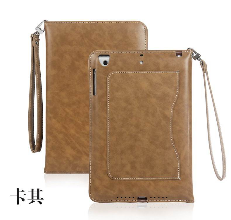 ipad pro 9 inch business wallet case with wrist loop khaki: