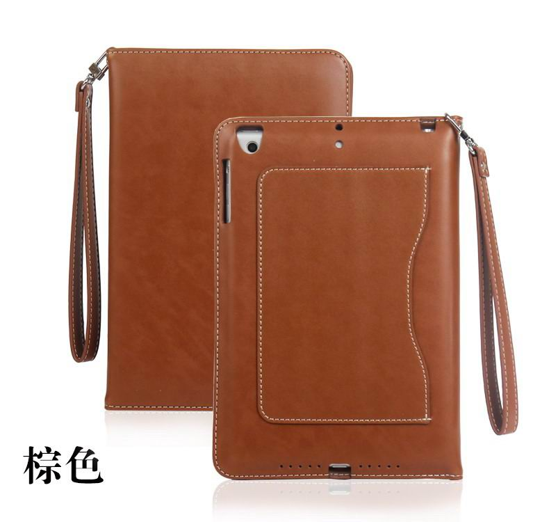 ipad pro 9 inch business wallet case with wrist loop brown: