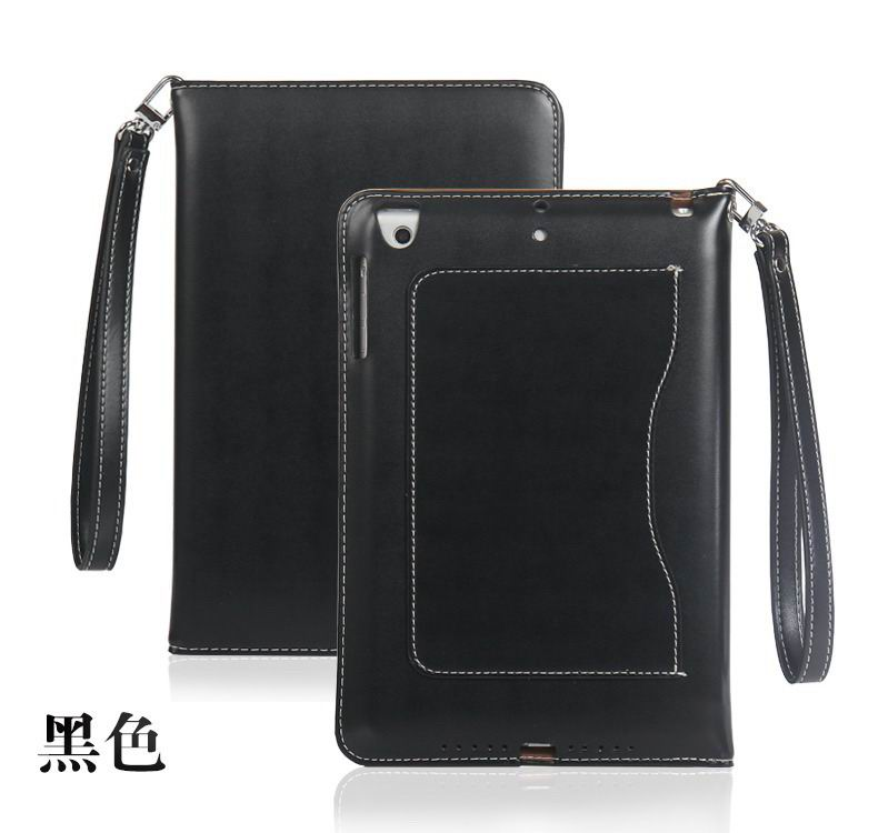 ipad pro 9 inch business wallet case with wrist loop black: