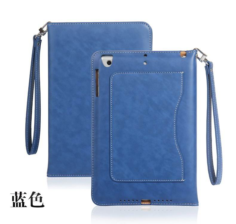ipad pro 9 inch business wallet case with wrist loop blue: