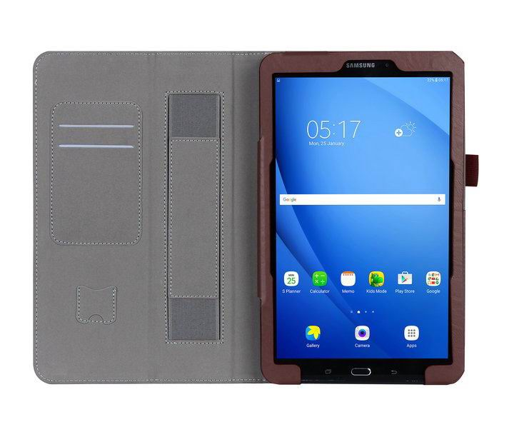 galaxy tab a 10 1 2016 case with a handle and card section samsung galaxy tab a 10 1 2016 sm t580 sm t585 Brown: