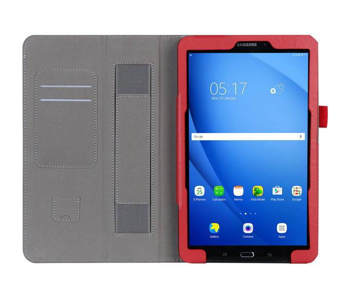 galaxy tab a 10 1 2016 case with a handle and card section samsung galaxy tab a 10 1 2016 sm t580 sm t585 Red: