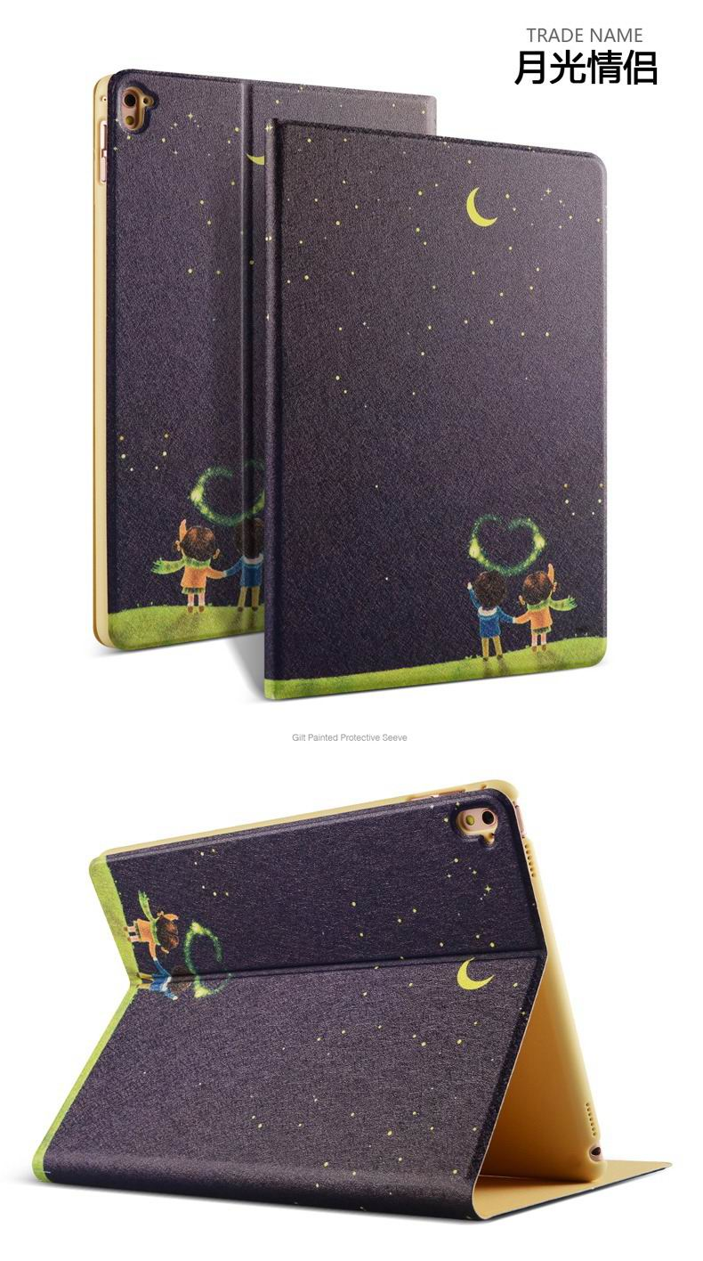 ipad pro 9 inch case with bright patterns and pictures of clouds peacock flowers and other