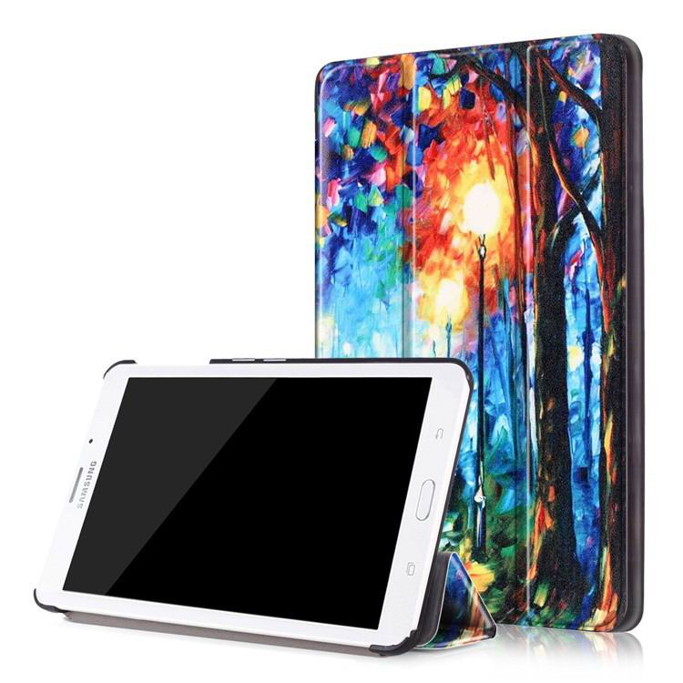 galaxy tab j case with bright pictures of trees and other