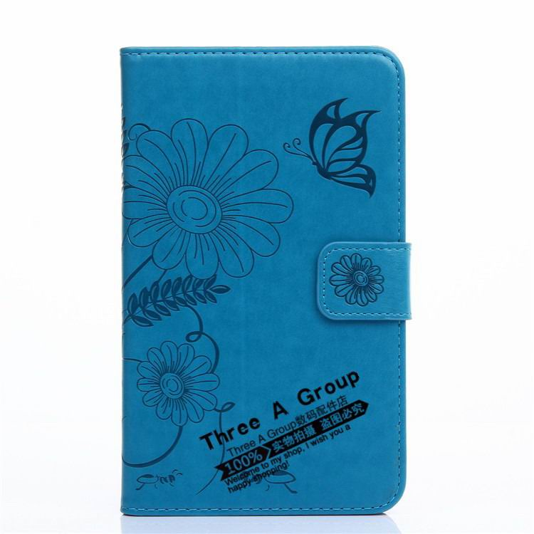 galaxy tab a 7 0 2016 case with butterfly picture and card slots blue: