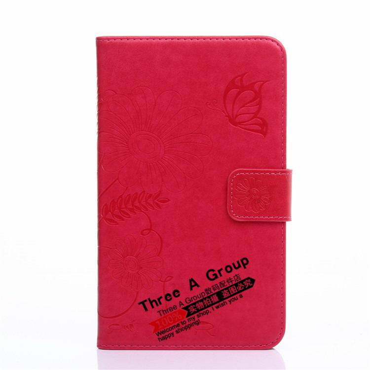 galaxy tab a 7 0 2016 case with butterfly picture and card slots red: